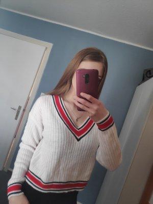 H&M Divided Camisa con cuello V blanco-rojo oscuro