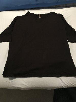 Dünner Pullover ¾ Arm weiter Ausschnitt Seitenschlitze schwarz Größe 44/46 – selten getragen