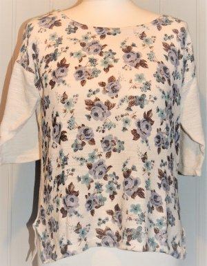 Dünner Pullover beige mit Blumenmuster blau Linea Tesini Größe 36