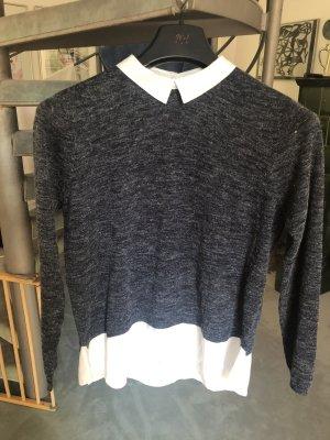Dünner Pullover mit Blusenkragen
