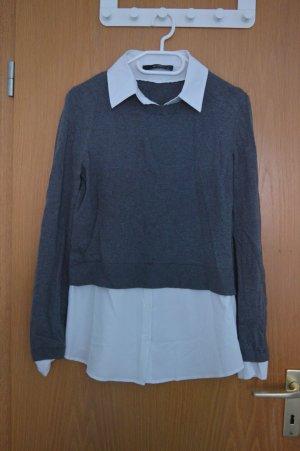 Dünner Pullover mit eingenähter Bluse