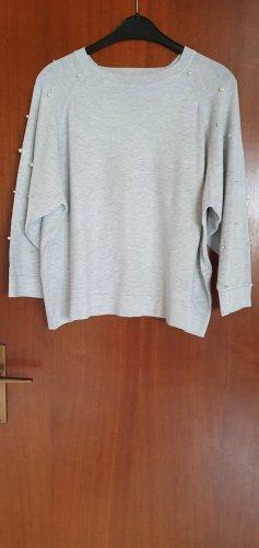 Dünner Pullover mit Perlen, hellgrau, Größe S, Zara