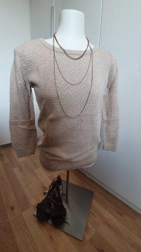 Dünner Pullover mit Waffel Strickmuster und 3/4-Armen