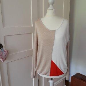 dünner Pullover Street One Gr. 36 beige, orangerot, weiß - neu