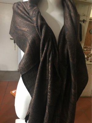 0039 Italy Szal Pashmina czarny-czarno-brązowy