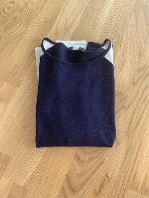 Saks Fifth Avenue Pull en laine bleu foncé-blanc