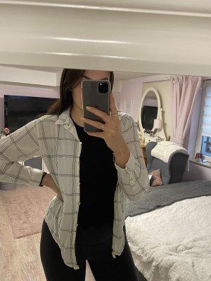 H&M Camisa de franela blanco puro-negro