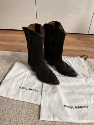 Isabel Marant Boots western noir cuir