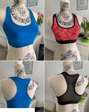 DUETT!!! Sport-BH/Bustier - OceanBlue&Pink/Black - Größe XS 32/34