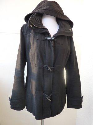 Dufflecoat Mantel Kurzmantel Parka mit Kapuze schwarz Übergangsjacke 40 42