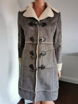 LTB Cappotto in eco pelliccia grigio chiaro-bianco sporco