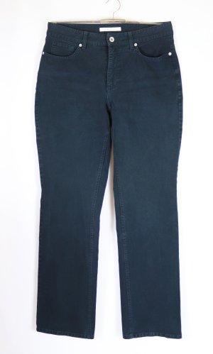 Dunkel Blaue Stretch Jeans Hose MAC Melanie Größe M 40 L 32 Mom Figurfreundlich Straigth Blau Schwarzblau