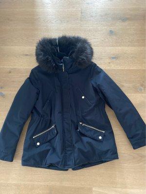 Zara Woman Kurtka z kapturem czarny-ciemnoniebieski