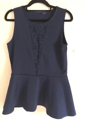 Dunkel blaues Sommer Top mit Schößchen mit Netzteil Ausschnitt