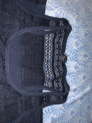 Amisu Szydełkowany top ciemnoniebieski