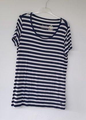 Bogner Jeans Długa koszulka ciemnoniebieski-biały Modal