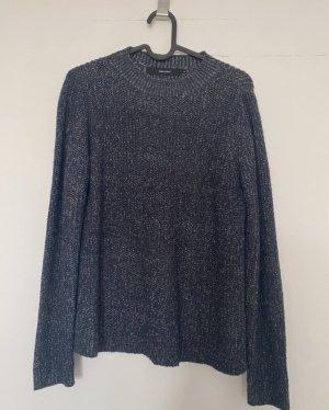 Dunkelblau melierter Pullover