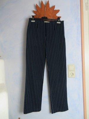 Dunkelblau Pinstripes Hose - Conleys Manufact - Gr. 38 M - Baumwolle - Parisienne