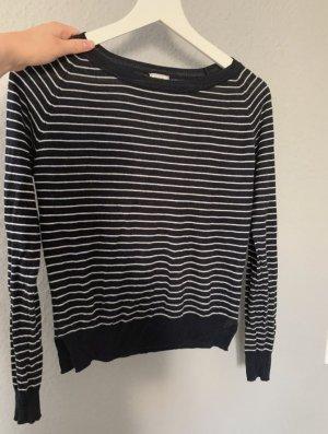 Pimkie Long Sweater dark blue-white