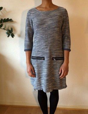 dunkelblau-weiß meliertes Kleid mit Reißverschluss-Applikation