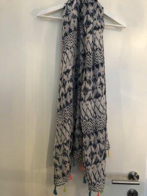 dunkelblau weißer Schal mit neon Fransen