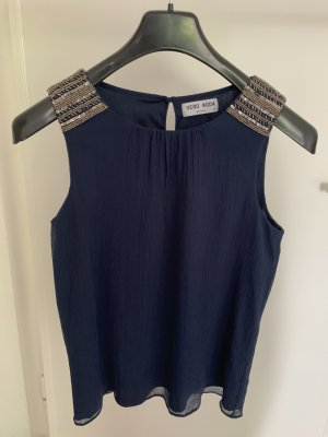 dunkelblaue ärmellose Bluse mit Pailetten