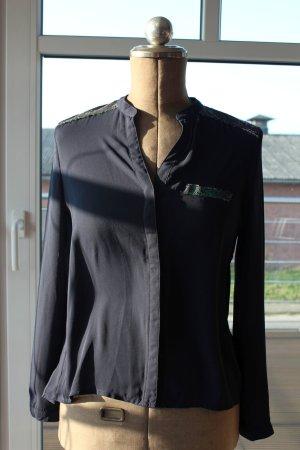 dunkelblaue Bluse /Blusenshirt mit schönen Pailletten
