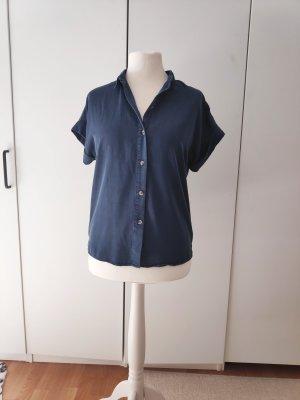 Dunkelblaue Bluse Hemdbluse Vintage Größe 36