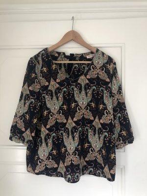 Dunkelblaue Bluse mit buntem Paisley-Muster in M