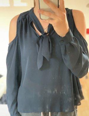 Dunkelblaue Bluse mit Schleife