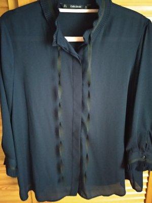 Zara Basic Tie-neck Blouse black-dark blue