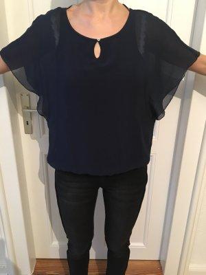 Dunkelblaue Bluse mit transparenten Flügelärmeln