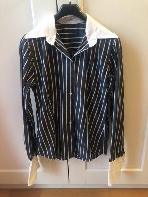 Dunkelblaue Bluse mit weißen Streifen & weißem Kragen