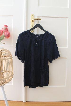 Dunkelblaue Bluse mit weiten Ärmeln / Sommerbluse