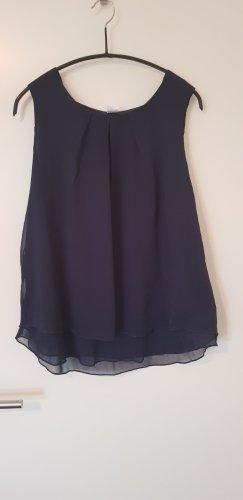Dunkelblaue Bluse ohne Arm, zweilagig, ungetragen