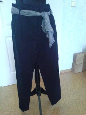 Zara Basic Pantalone a pieghe blu scuro Cotone