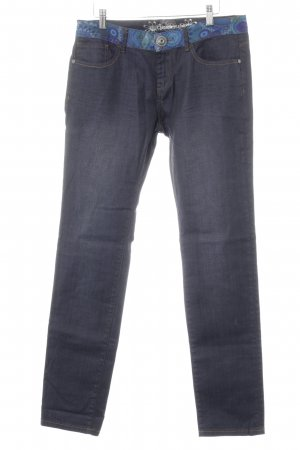 Dunkelblaue Desigual-Jeans * farbiger Bund * Tasche hinten mit Pailletten