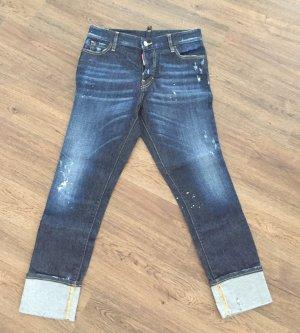 Dunkelblaue Dsquared Jeans mit Aufschlag