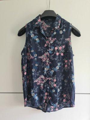 dunkelblaue florale Bluse ärmellos Gr. S
