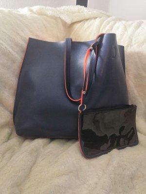 Shopper neon orange-dark blue