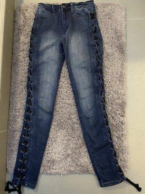 Dunkelblaue Highwaist Jeans von Fashionnova mit Schnürrung
