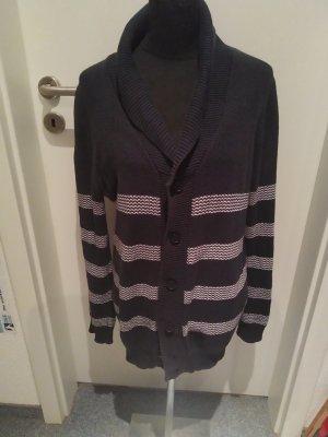 dunkelblaue Jacke mit weißen Streifen zum Knöpfen - Größe L - WE