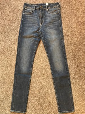 H&M Hoge taille jeans donkerblauw-leigrijs