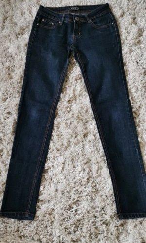 Miss Ok Wortel jeans donkerblauw-zwart