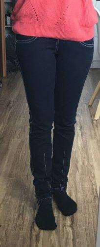 Dunkelblaue Jeans mit Kontrastnähten, Röhre, Avanti, Gr. 34