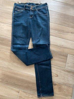 H&M Tube Jeans dark blue-steel blue cotton