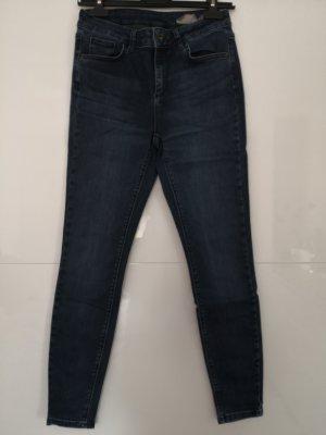 vero moda denim Spodnie rurki niebieski-ciemnoniebieski