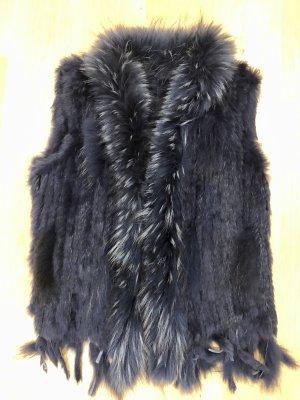 Smanicato di pelliccia blu scuro