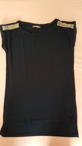 Dunkelblaue/s Shirt/Bluse mit Silberperlen an der Schulter
