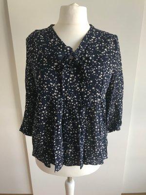 Dunkelblaue Schluppen-Bluse mit Sternen-Print